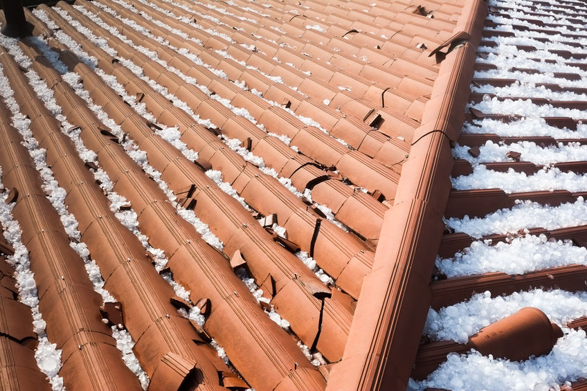 Hail damage on clay roof