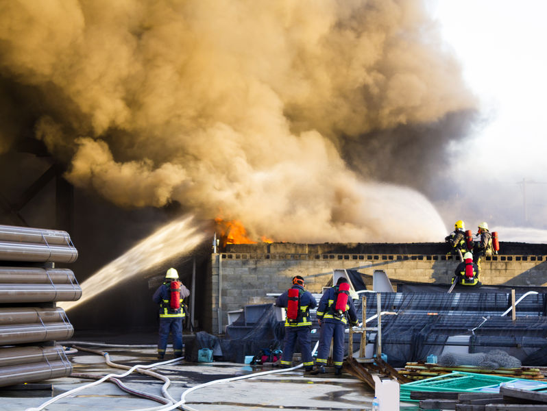 everal firefighters support to off the plant fire