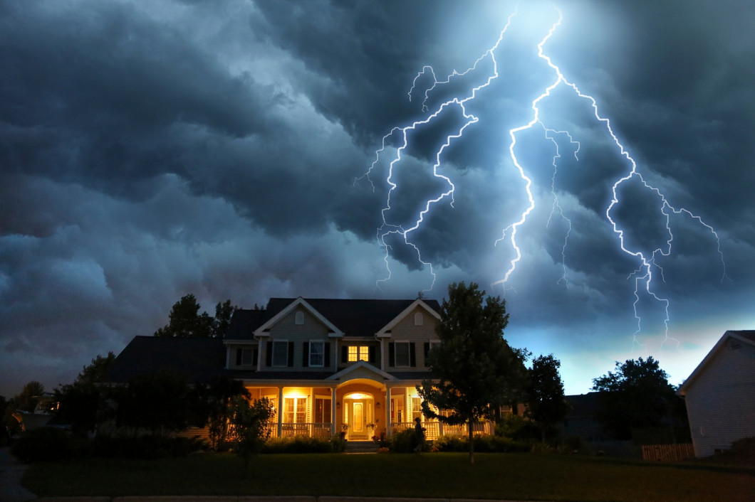 lightening over home